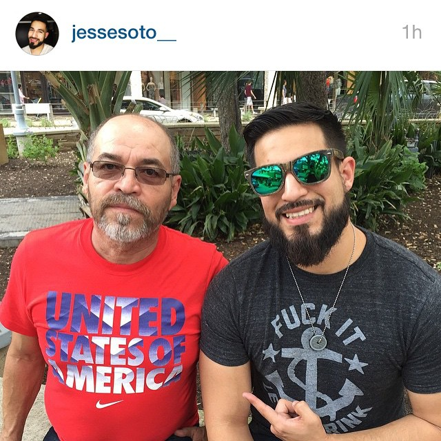 Jesse representing with dad!