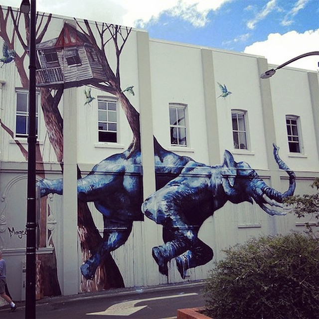 On Monday, go BIG or stay home and bike to work all week! #bike2work #graffiti art by Fintan Magee