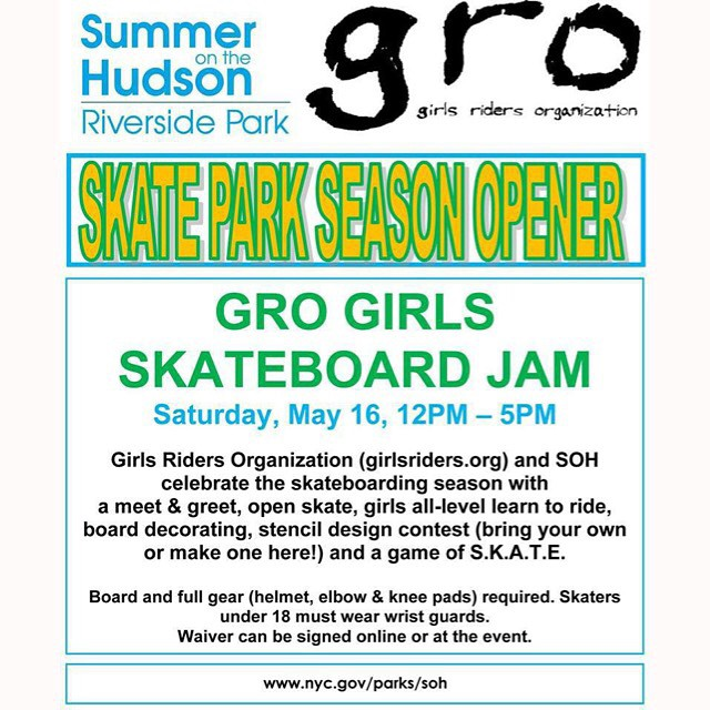 Come to Riverside Skate Park this Saturday to take part in our GRO Girls Skateboard Jam #ridetrue #groNYC