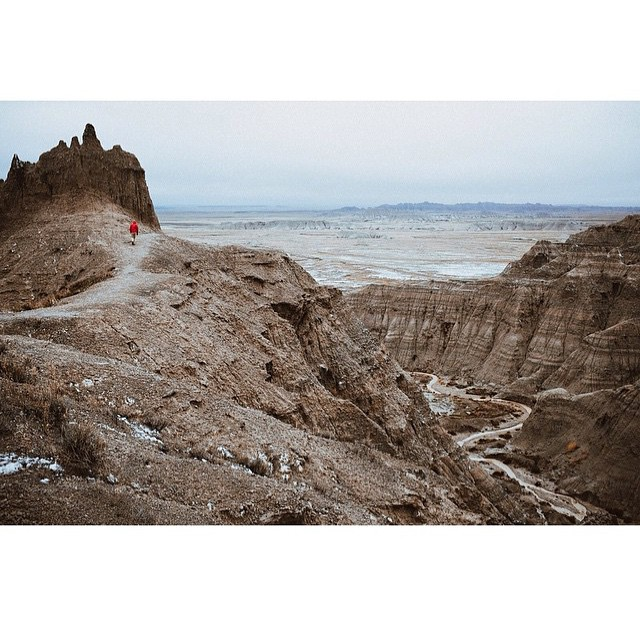 The homie @kylepanis did some scrambling around Badlands National Park this weekend. Give this dude a follow for some unreal sights and stories. // #adventureoften #everydayequipment #pinebrand