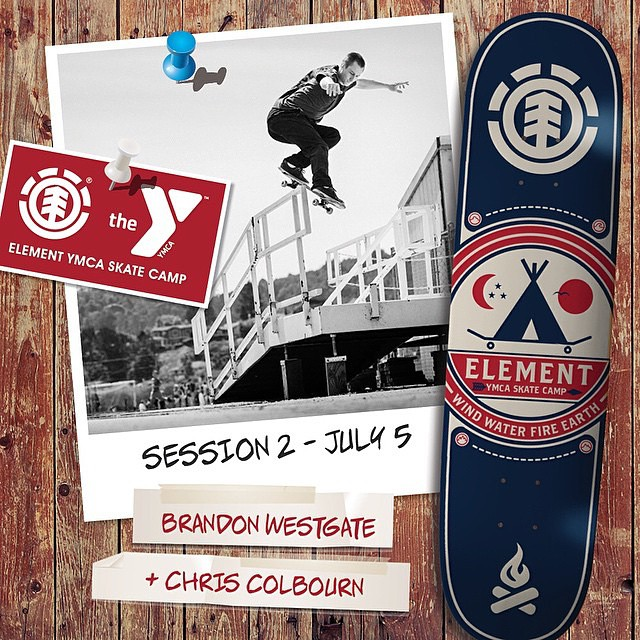 Come skate with @westgatebrandon and Chris Colbourn (@coookie_doe) session 2 of @elementskatecamp! Sign up before May 15th, and get this free board upon arrival! >>> sign up at skatecamp.org #skatecampvibes #elementskatecamp