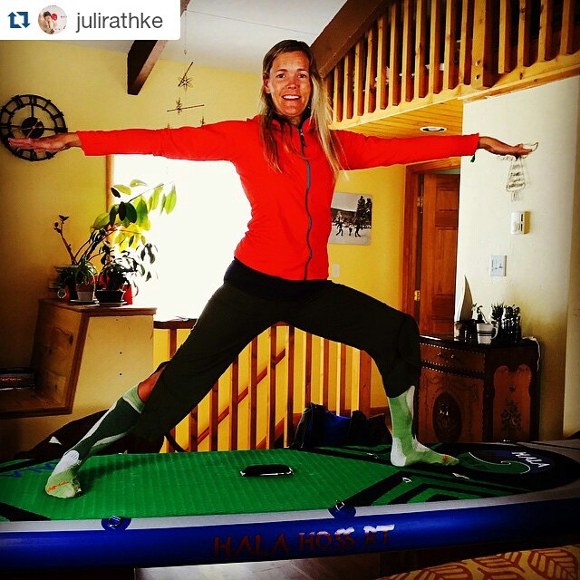 @julirathke enjoying her Mother's day gift indoors while it snows outside! Happy Mother's Day to all you amazing SUP Moms out there!