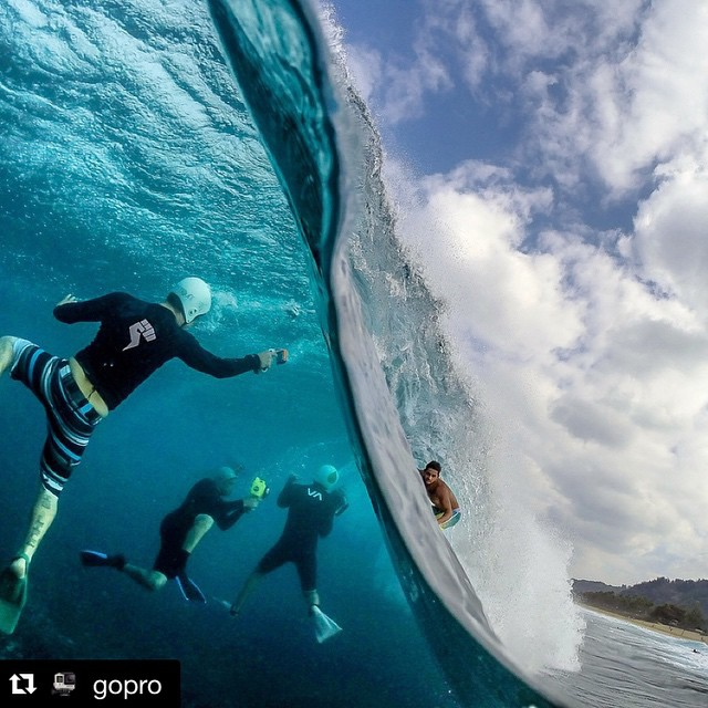 There's more than meets the eye when you see awesome surf pics - this is an insanely radical photo - had to #Repost from @gopro - surf photographers are just as gnarly as the surfers - we've got tons of respect for both #surfing #hawaii...