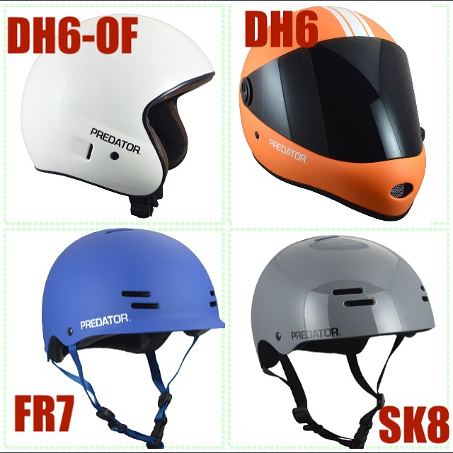 2015 Predator Helmets now in stock at your local dealer! Fresh colours, new models #fr7 #dh6 #sk8 #dh6-OF #orginalpredatordesign #fullface #halfshell #skate #skateboarding #wearyourhelmet #safetyfirst #style #predatorhelmets