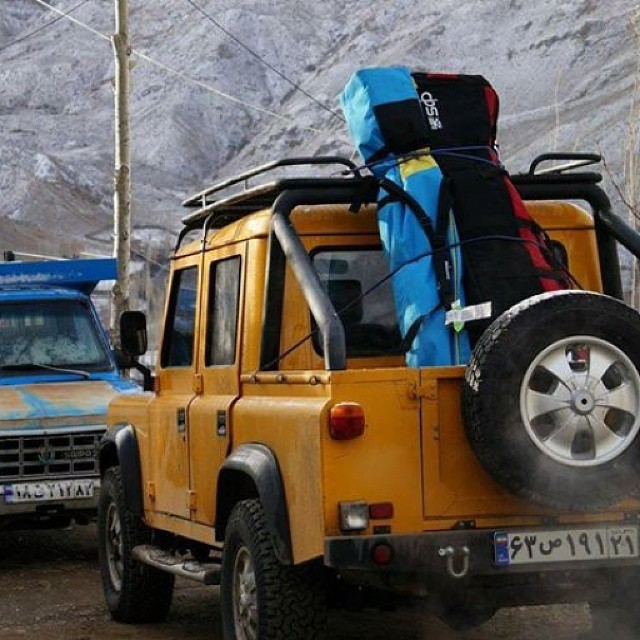 On the search in Iran. DPS' Roland Knapp's rig moves into the Alborz Mountains, headed to ski 18,410 foot Mt. Damavand. #dpsskis #spring #skiing #travel