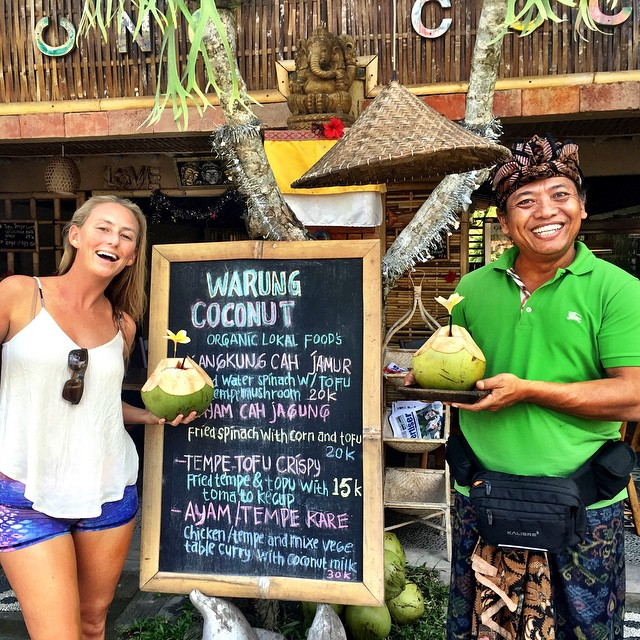 When you come to Bali you must stop for a coconut and bubble tea at my Balinese family's 'Warung Coconut,' located right on the other side of the Monkey Forest from Ubud! Tell them I sent you:) #yummy!!!