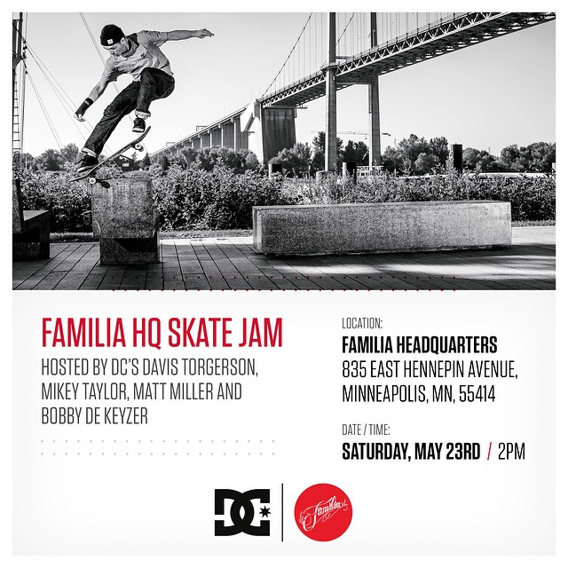 Come join us May 23rd at @familiask8shop in Minneapolis, MN for a free skate jam at the #FamiliaHQ hosted by @davistorgerson, @bobbydekeyzer, @mattmillerskate and @mikeytaylor1. It's going to be a fun one so roll out if you're in the area! #DCShoes