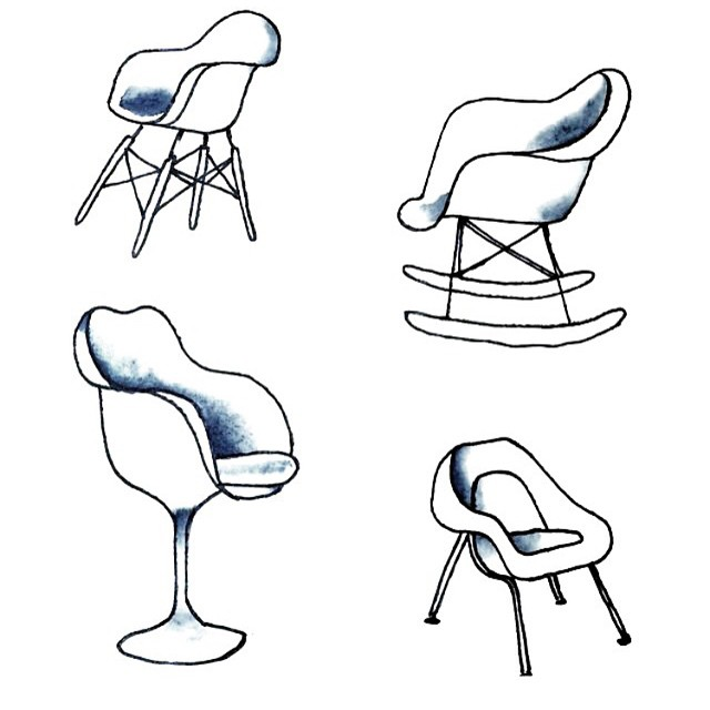 Those are some sexy curves | sketchbook inspiration from @andrewreyes via Eames and Saarinen | #takeaseat #AllSwell