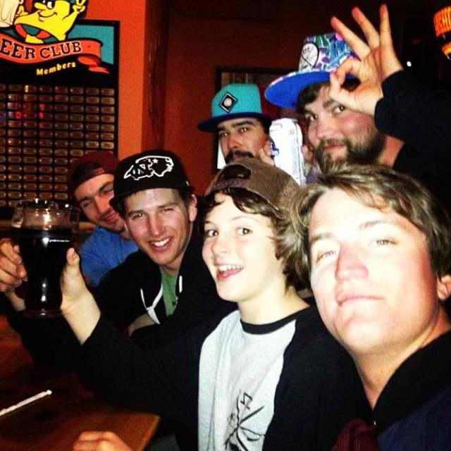 #tbt celebrating last season bringing @_lukewinkelmann on the team with a stout root beer. Stoked to have the lil homie on the squad. Always having fun and shredding hard. #stzlife #happyshredding #professionaloutsider #shrednc #stzfam #goosemob
