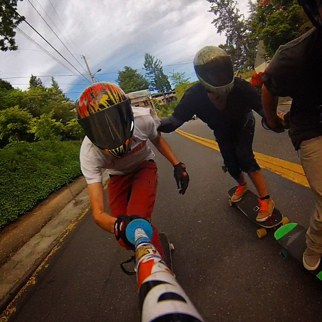 @daddiesboardshop rider @austin.long_pdx ,@samuraimckeon and @routsupplyco rider @Landin_thunda taking some tight runs in #Portland  Austin loves his #pushcultureapparel #crashpants , especially for those moments when things get just slightly more...