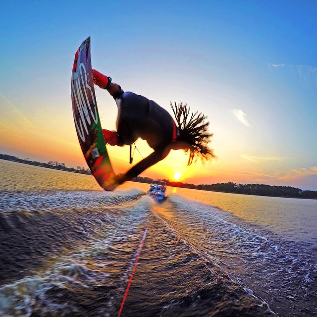 @joshpalma boosting into the sunset. Captured by @aaronperkins with GoPro HERO4 and GoPole Evo. #gopro #hero4 #gopole #gopoleevo #wakeboarding