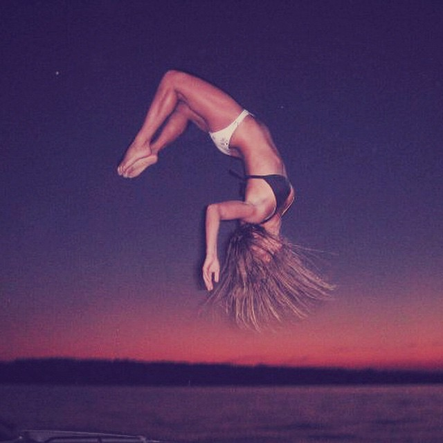 || What would you attempt to do if you knew you could not fail? || #hovenvision #neversettle #hovenhunny #beachbabe #happyhumpday #wcw #sunset #backflip #boat