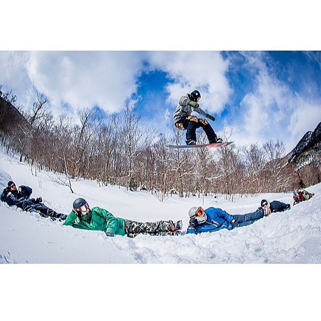 It's been some time since the lifts ceased spinning, but this photo of #coalheadwear's @bcocard and the @airblaster crew gives us the chills. See more at @snowboardermag.