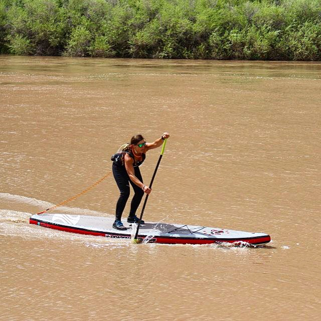 Sprinting for the finish line at the Back of Beyond Sup Race hosted by @paddlemoab.