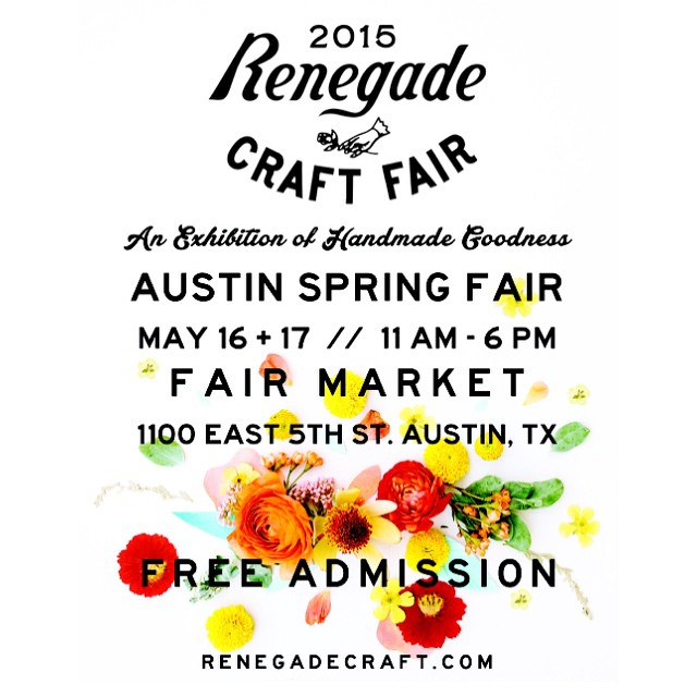 We're on the road to Austin. See you this weekend at booth 136! #renegadecraftfair