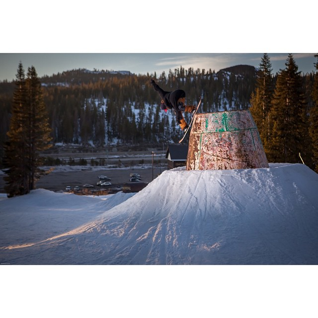 @ryan_tarbell laying down a backlipper on the cement mixer at @borealmtn. Cheers to our good friend @chadotterstrom for the