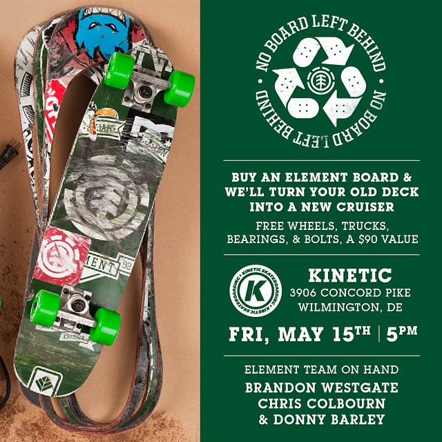 TOMORROW at @kineticskateboarding we'll be holding a #NOBOARDLEFTBEHIND event at 5pm. Come out and get your old boards cut into new cruisers by @westgatebrandon, Chris Colbourn (@coookie_doe), and @donnybarley!