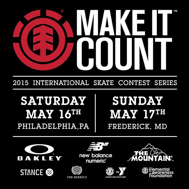 We're kicking off the east coast leg of our #elementmakeitcount international contest series tomorrow at Paines park in Philadelphia, PA. Followed by a second event at The Frederick, Maryland park on Sunday! Head to elementmakeitcount.com for more...
