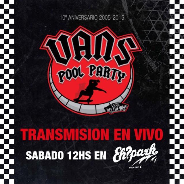 ¡MAÑANA! Todos invitados a @ehparkparadise_skatepark a ver la décima edición de la #VansPoolParty que va a estar tremenda