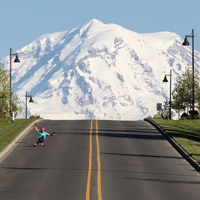 Repost from @skateslate featuring @snack_skates trying out a new hill near Mount Rainier on the Keystone 39""