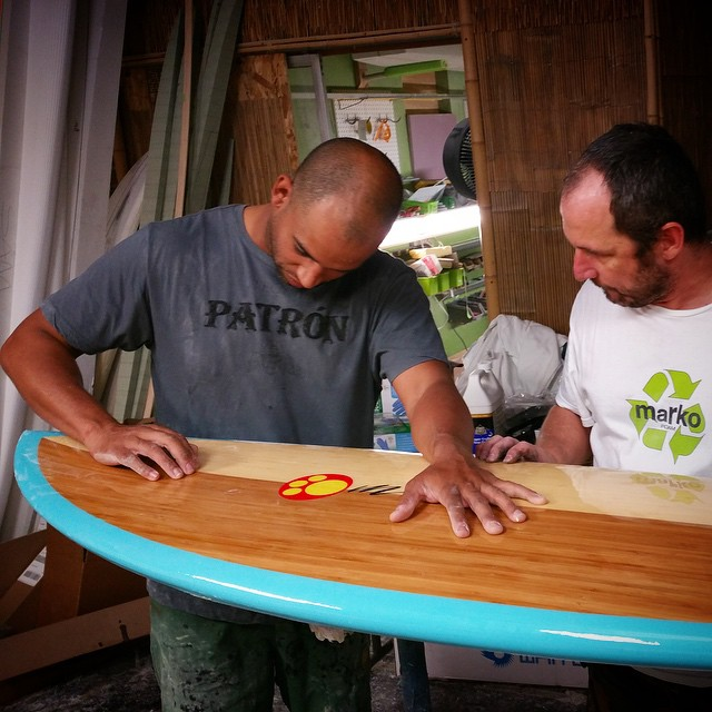 The boyz (co-founders Ryan and Todd) at @etechboards have been busy Glassing boards like this from legendary shaper Maurice Cole @mcsurfboards that are among the hoard of boards being entered into the Sustainable Surf / 'Best in Show' competition at...