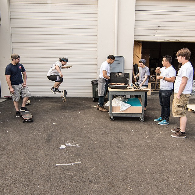 We out here BBQing on a Friday at the shop. #dblongboards #bbq #skateshop #tgif #pnw #weekendvibes