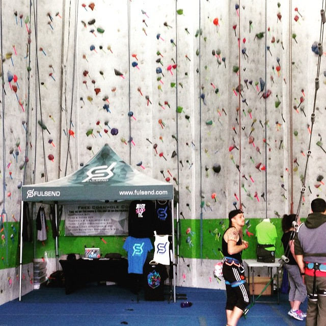 Come checkout the #fulsend booth at City Climb Gym in New Haven today til 6pm! #rockclimbing #newhaven #yale #JustSendIt #belay #dyno #cityclimbgym #sendit