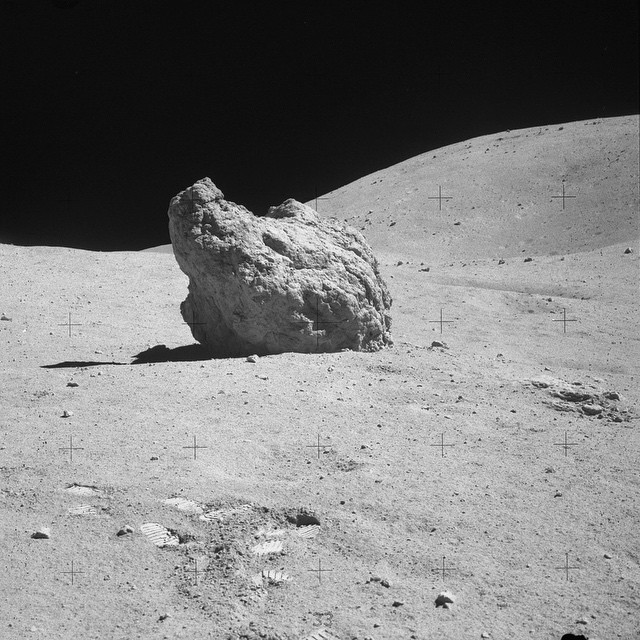 Shadow Rock, near North Ray Crater on the Moon PC @nasa #geopreneismadefromlimestone