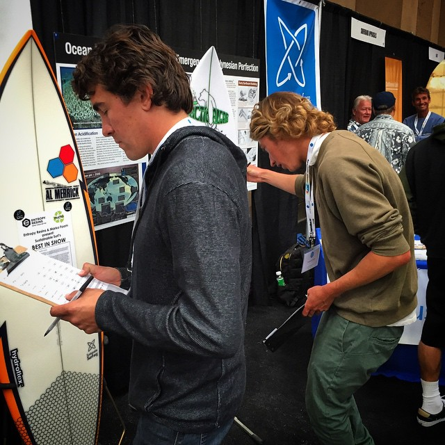 We roped our pals Ryan Burch @bobbersandsinkers and Greg Long @gerglong in as judges for the SSurf /Best of Show comp yesterday at @boardroomshow , to choose among the 16 boards entered for the one that best expressed technical & environmental...