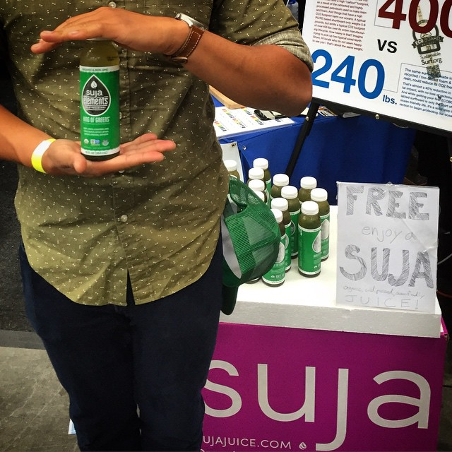 At the @boardroomshow and need to recharge after eyeballing all the saltwater eye-candy? Stop on by the Sustainable Surf / Best in Show booth like this happy camper who picked up his Free bottle of @lovesuja Suja Juice - organic and non GMO and pack...