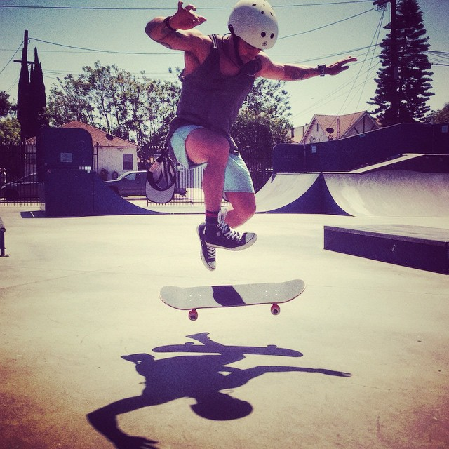 Tricked out at skate mentor at @stoked_la. #skateboarding #skater #skate #skatelife #skateboardingisfun #skatetricks #sunshine #stoked #stokedmoment #shadow #community