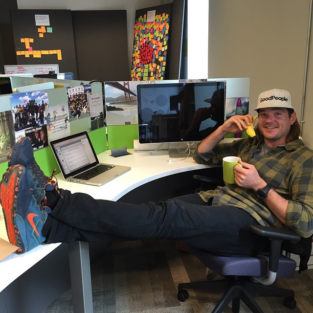 Shits about to go bananas @goodpeoplelife! Our new Marketing Director @jordanhosmer on a really important call #goodpeople #goodpeoplelife #startuplife #bananaphone