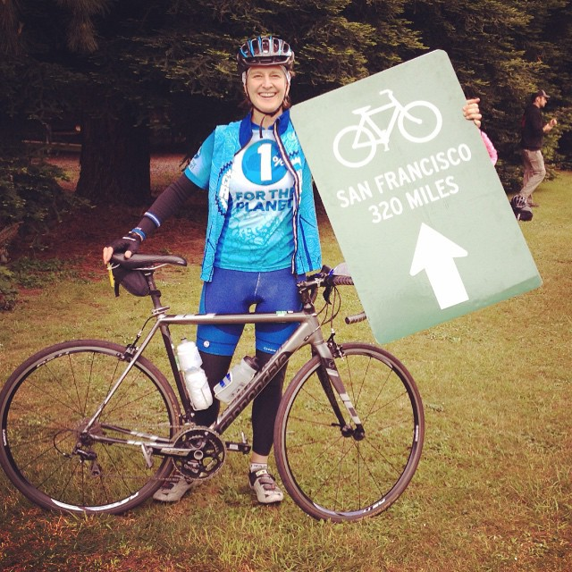 Trina, former Dr. of Development for @1percentftp is riding for her climate @climateridelive. Thank you Trina! #loveblue
