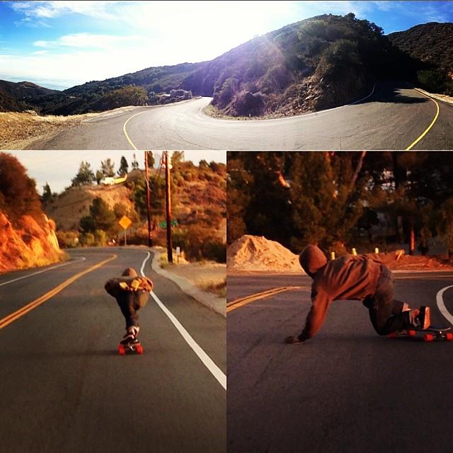 Trevor Baird slays all hills in Malibu. #loadedboards #orangatangwheels