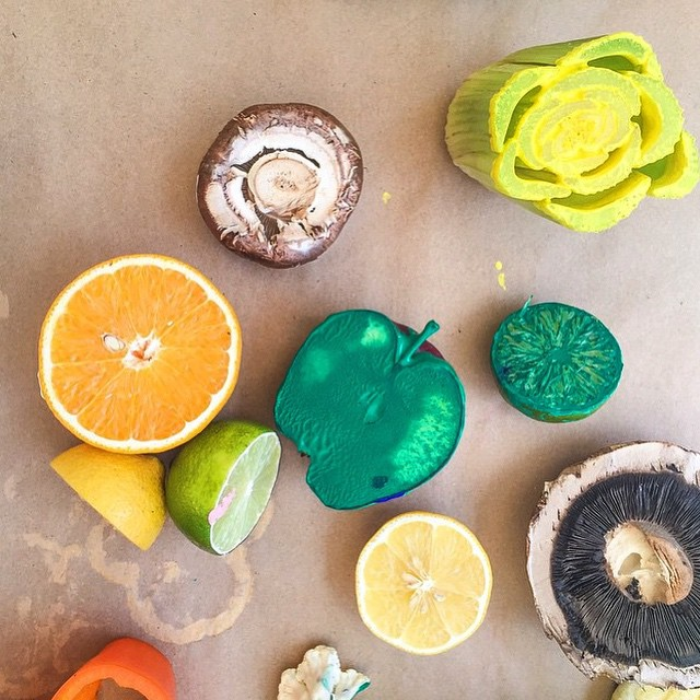 Borrowing these fruit stamps from @wfmwilshire to transform some furniture.