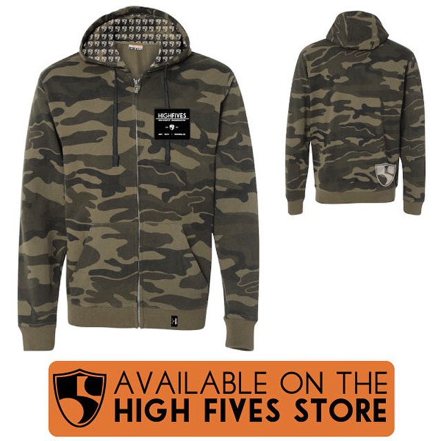 #HighFivesFoundation camo hoodie is available now! You'll blend into your surroundings, but people won't be able to stop noticing you! #survivaltool | link in bio |