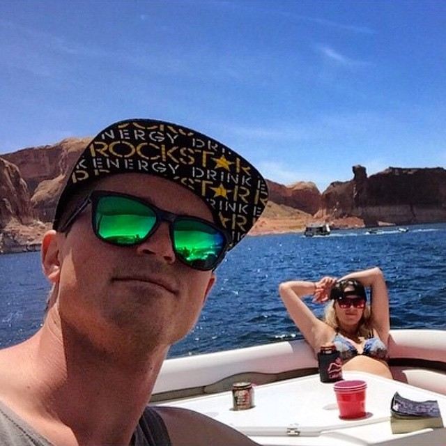 When our boy @mcrae_williams isn't shredding the slopes he's out boating in Lake Powell Kameleonz.com