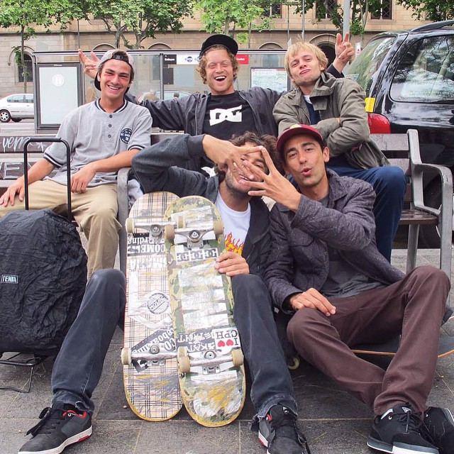 #WesKremer, @madarsapse and the homies living it up in Barcelona on the #DCSpecialDeliveryTour. Next stop, Lyon, France! Photo: @Sergioastur #DCShoes
