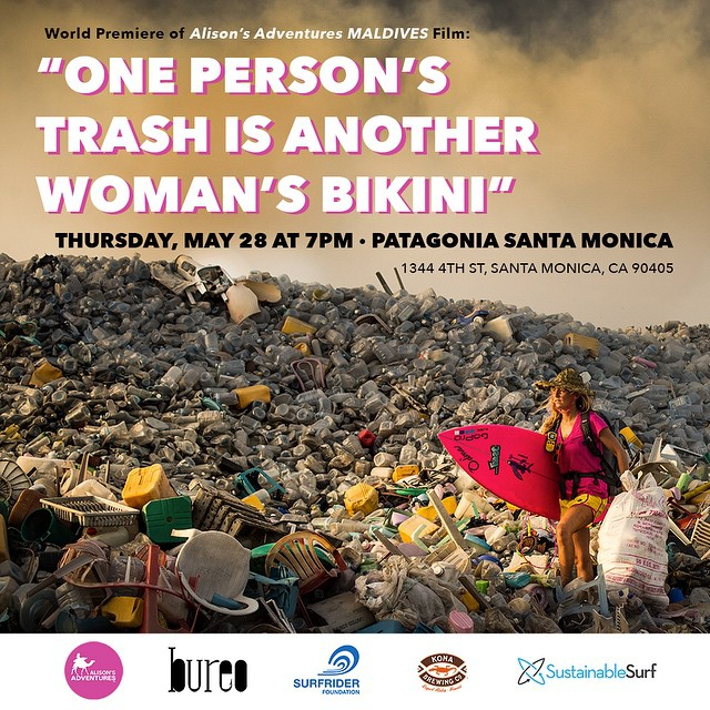 "FREE World Premiere of my latest Alison's Adventures film in the Maldvives ""One Person's Trash is Another Woman's Bikini,"" Thursday, May 28 at 7pm at the Patagonia Santa Monica 1344 4th St, Santa Monica, CA 90405  It's a comedic short about a serious..."