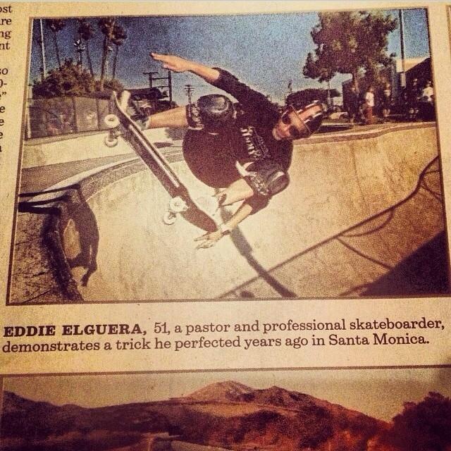 Skatelegend @eddieelguera in the #latimes yesterday rockin his #s1helmet . Regram @jimmyz . #skateboarding #history #yourheroshero