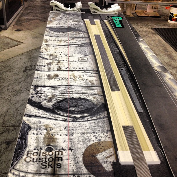 Bases, cores, fiberglass, #carbonfiber and the topsheet all ready to be pressed! #madeintheusa