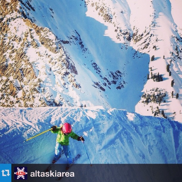 #Repost from @altaskiarea. Digging on the up and coming little rippers! Thanks @marcuscaston for spreading the stoke. #shejumps #chicswhorip #skiing #ladyshred