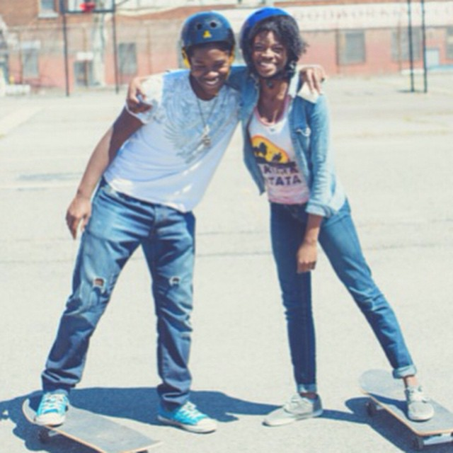 These two are ready to shred - just how we like it! Photo by @emilywinikerphotography. #smiles #skateboards #skateboarding #skate #skaters #skatergirl #skatelife #sunshine #spring #citylife #nyc #youth #community #motivated #happiness #stoked #stokedorg