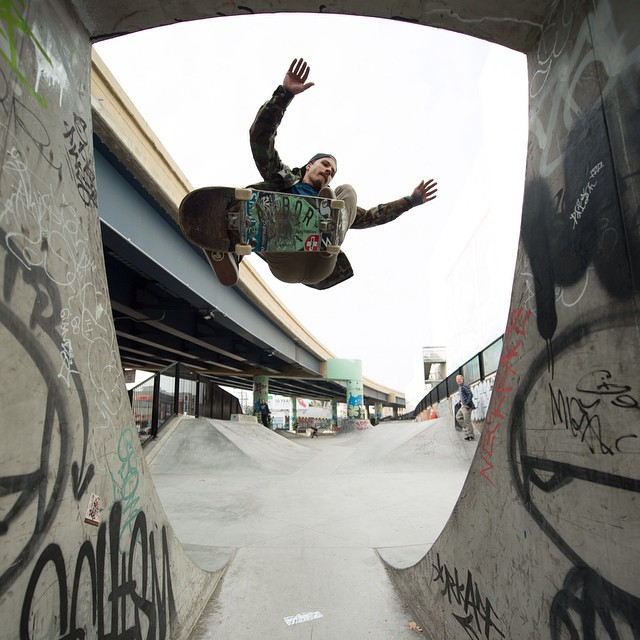Team rider @radicalsmith flies the new #caliberstandards over the channel in SF. #strength #stability #skateboarding