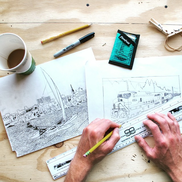 Morning doodles with the #flowfold Minimalist wallet ($10 and available in Black, white, yellow, cyan, green, purple, and pink).