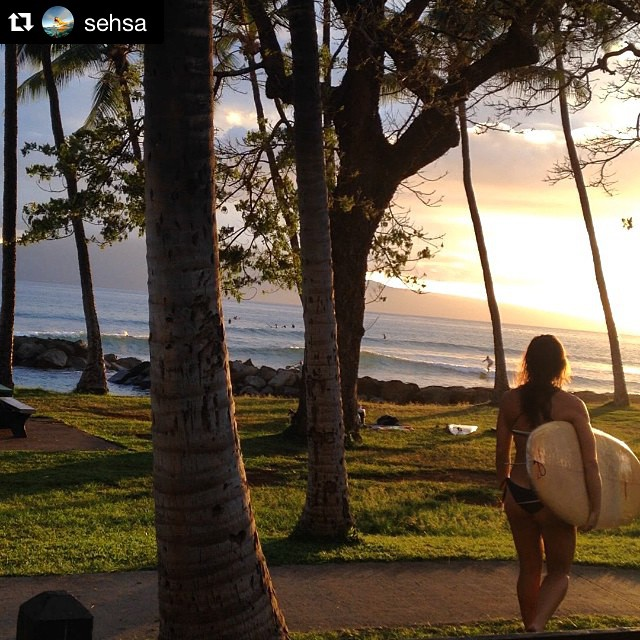 Perfect Aloha Friday View || The Sunset is Nice Too @sehsa #hovenvision #alohafriday #tgif #friday #surf #sup #babe #sunset #weekendvibes #hawaii ・・・ A girl and her board. Total bliss. It doesn't matter what shape; it's always pure love....