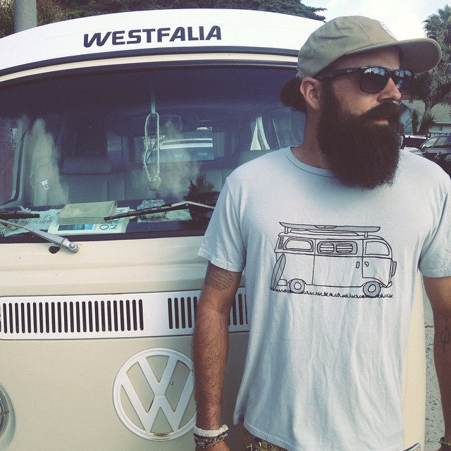 "Our men's Adventure tee in granite is back in stock. Made in California from a blend of hemp and organic cotton. Featuring a hand sketch of our '69 westy ""Woodstock"" on the front"