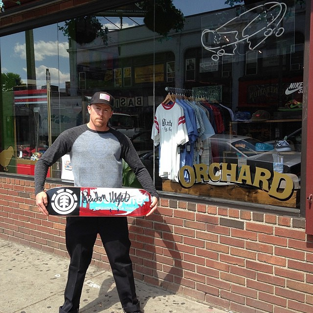 We rolled through @orchardshop in Boston today with @donnybarley to drop off this signed @westgatebrandon board. First person to come into the shop and name a trick Donny got in Boston in his #EasternExposure part gets the board!...
