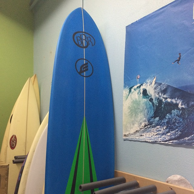 Friday Freshy. Brand new 9' Gunlog shaped by @estrats super Suck!  Thanks Mikey. I love it!  #bbr #buccaneerboardriders #mikeestrata #estratasurfboards #gunlog
