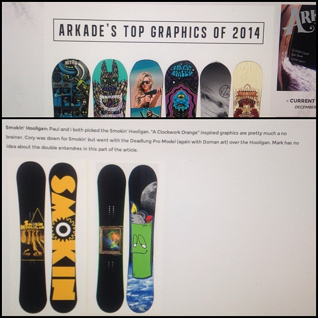 It's a great day at Smokin Snowboards! @arkadesnowboarding chose 2 of our boards as their favorite graphics- the #smokinhooligan, and #smokinDeadlung-deadlung's model. Thanks for the thumbs up guys!! Check it: Arkadesnowboarding.com #forridersbyriders...